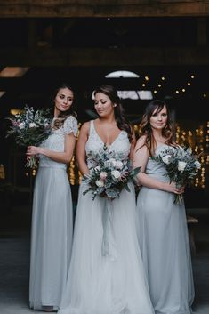 Matchimony takes away all your colour headaches with tailor made Bridesmaid Dresses and wedding items all using the exact same fabric. Winter Wedding Bridesmaids, Silver Bridesmaid Dresses, Bridesmaid Outfit, Brides And Bridesmaids, Bridesmaid Bouquet, Wedding Dresses, Bridesmaid Separates, Bridal Separates, Starry Night Wedding