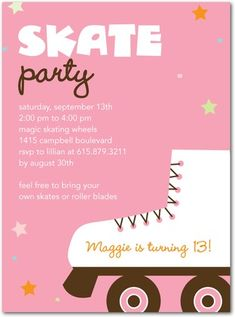 Free printable roller skating party invitations laylas birthday skate party tiny prints stopboris Image collections