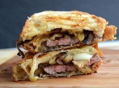 Skirt Steak Sandwich with Caramelized Onions & Mushroms, Arugula and Horseradish Mayonnaise