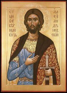 alexander nevsky by zoran zivkovic Images Of Christ, Religious Images, Religious Icons, Religious Art, Byzantine Icons, Byzantine Art, Russian Icons, Russian Art, Church Icon