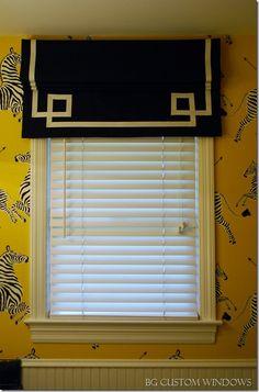 "Roman shade with Greek key trim.Tammy at BG Custom Windows / uses 7/8"" grosgrain ribbon for the trim"
