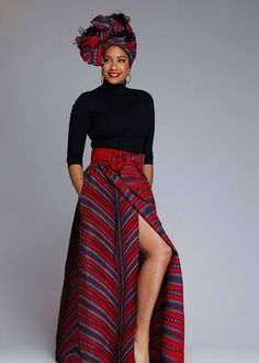 Cyrah African Print Maxi Skirt with Sash (Red/Grey Stripes)- Clearance Nida Women's African Print Button Down Midi Skirt (Purple Paisley) - C – D'IYANU Modern African Clothing, African Print Clothing, African Print Fashion, Modern African Fashion, Modern African Dresses, African Clothes, Africa Fashion, African Prints, Grey Maxi Skirts
