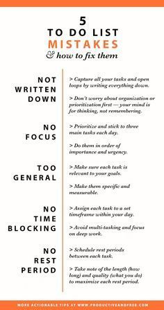 Infographic To do list mistakes and how to fix them Productivity Time management Good Time Management, Effective Time Management, Time Management Quotes, Time Management Strategies, Productivity Hacks, Evernote, Self Improvement Tips, Life Organization, Study Tips