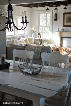 I would add just a little soft color to the chairs, pillows, and flowers; but love the cozy feel.