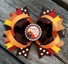 THANKSGIVING HAIR BOW Boutique Style Fall Autumn Turkey Bottle Cap Hair Bow Brown Orange on Etsy, $8.99