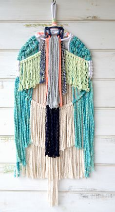 Modern macrame wallhangingEcofriendly cotton rope hand dyed with moroccan dyesW 42cm x H 1,10m