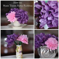 Spring Craft: How to Make Tissue Paper Flowers via @Kimberly Palomo. Use as a centerpiece, in a vase, or as a corsage.