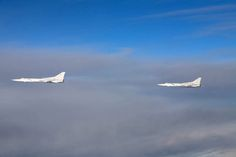 "Undated photo of two Russian Tupolev Tu-22M ""Backfire"" bombers. Finnish Defense Forces Photo"