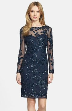 Free shipping and returns on Patra Beaded Mesh Dress at Nordstrom.com. Glistening beads draw intricate floral tendrils over the sultry sheer overlay of this figure-skimming cocktail dress. The long fitted sleeves and scalloped yoke are left sheer for an added touch of tasteful allure.
