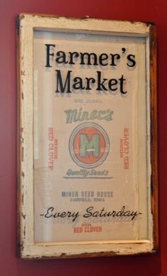 Farmer's Market window art with vintage feed sack. Would be cute in the kitchen.
