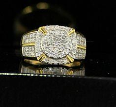Round Diamond Men's Fashion Wedding Band Pinky Ring Yellow Gold Over Emerald Jewelry, Silver Jewelry, Mens Pinky Ring, Sapphire Wedding, Round Diamonds, Divas, Wedding Jewelry, Wedding Bands, Rings For Men