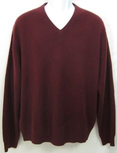 Grant Thomas 2 Ply Cashmere Sweater 100 % Mens Size Large Maroon Red V-Neck #GrantThomas #VNeck