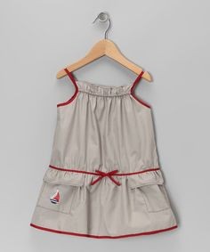 Loving this Red & Taupe Sailboat Dress - Infant, Toddler & Girls on #zulily! #zulilyfinds