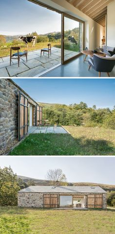 This contemporary stone cottage has a small patio with expansive views of the mountains and valleys in the distance. Stone Cottages, Stone Houses, Country Cottages, Contemporary Cottage, Contemporary Interior, Casa Patio, Stone Facade, Cottage Exterior, Cabana