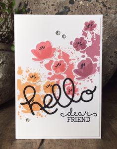 Dit kaartje is gemaakt met 3 nieuwe inktkleuren, Peekaboo Peach, Flirty Flamingo en Sweet Sugarplum.   De spetters zijn gestempeld me...