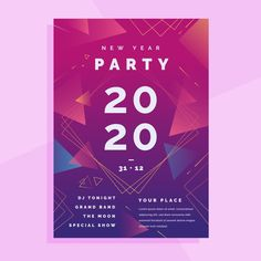 Abstract new year 2020 party flyer Flyer Free, Free News, Festival Posters, New Year 2020, Geometric Background, Advertising Poster, Party Flyer, New Years Party, Magazine Design