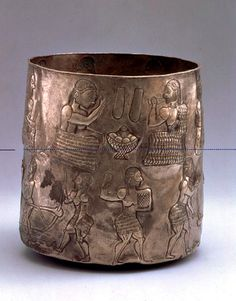 Bactrian Silver Cylindrical Cup with Agricultural and Ceremonial Scene 3rd early 2nd millennium BCE