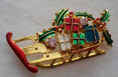 WEISS  Christmas Brooch  Marked by Boxtreasures on Etsy, $49.99