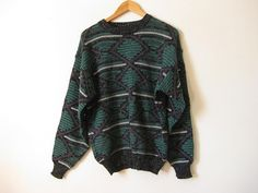 Vintage 80s geometric slouchy sweater  hipster by EcoCentrik