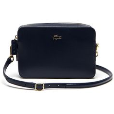 Lacoste Women`s Chantaco Leather Crossover Bag - Square Format ($215) ❤ liked on Polyvore featuring bags, handbags, shoulder bags, real leather handbags, blue leather purse, blue leather handbags, leather shoulder handbags and real leather purses