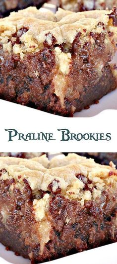 Praline Brookies- half brownie and half chocolate chip cookie Cookie Brownie Bars, Cookie Desserts, Just Desserts, Delicious Desserts, Cheesecake Brownies, Chocolate Cheesecake, Brownie Recipes, Cookie Recipes, Dessert Recipes