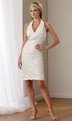 Casual Halter Knee Length Wedding Dress For Summer