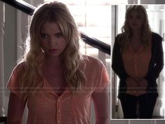 Hanna's peach henley tee and grey hoodie on Pretty Little Liars.  Outfit details: http://m.wornontv.net/17352/