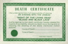 Death Certificate Natural Born Killers, Death Quotes, Darkness Falls, Sign I, No Response, Blood, Zombies, Veil