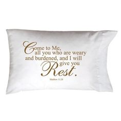 "$20 Sweet dreams are yours with our thoughtful gift pillowcase! From our Sleep on it Collection, creatively packaged to give and artistically scripted with inspiring words and Bible verse. Screen printed 20""x 30"" standard/queen size pillowcase, soothes, comforts, and lifts your spirit as you cuddle up to go to sleep."