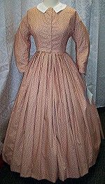 1860's Day Dress-Lined fitted bodice. Coat sleeves. Knife pleated 5 yard full skirt. $175