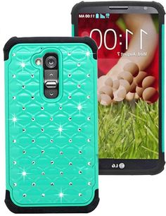 myLife Seafoam Green {Shimmer and Rhinestone Design} 2 Layer Neo Hybrid Case for the for the LG G2 Smartphone (External Rubberized Hard Safe...