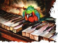 Right Notes, Not Necessarily In The Right Order.  Peter Williams.  Watercolor