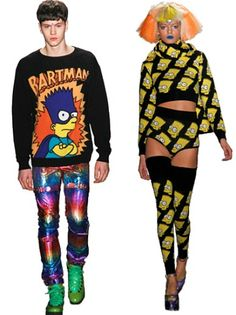 Jeremy Scott. Fall 2012, the designer incorporated Simpsons graphics into his collection for a distinct comic book feel.