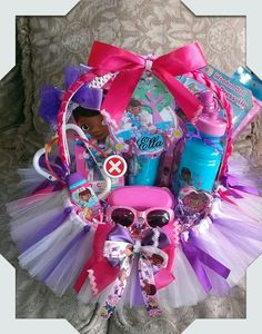 Doc Mcstuffins gift basket made by Norma's Unique Gift Baskets.