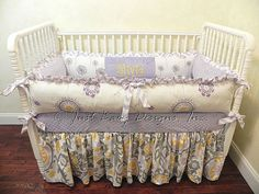 Hey, I found this really awesome Etsy listing at https://www.etsy.com/listing/184646560/custom-crib-bedding-olivia-lavender-gray