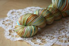 Hand Dyed Yarn / Fingering Weight / Orange Turquoise Chartreuse Verdigris Silk Merino Wool