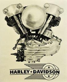 Harley Davidson Knucklehead Ad Moteurs Harley Davidson, Harley Davidson Engines, Harley Davidson Knucklehead, Harley Bobber, Harley Bikes, Harley Davidson Motorcycles, Knucklehead Motorcycle, Bike Poster, Motorcycle Posters