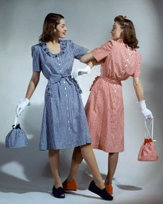 Models wearing gingham dresses and matching purses, by Jane Engel, 1943
