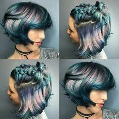 Metallic blue, pink, purple ombré hair color in pixie cut and braid
