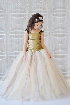 Tutu Dress, Vintage Collection of Champagne, Ivory, Gold and Brown Long Tulle Skirt with a Gorgeous Gold Top Wedding