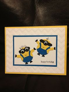 Fiddle Dee Dee, Minions, Owl Punch, Stampin' Up!, Birthday Card