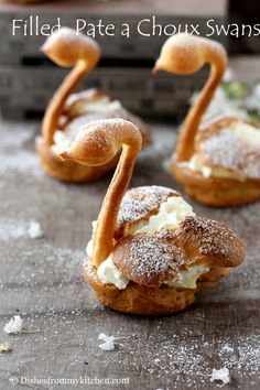 FILLED PATE A CHOUX SWANS - These remind me of having lunch at the culinary school in Wellsville NY