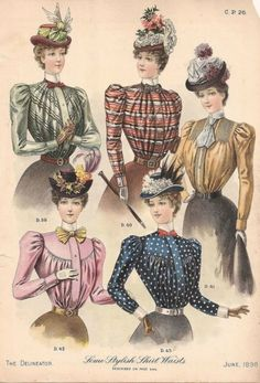 1898 June shirtwaists as seen in The Delineator | Sleeve Shifts of the 1890s