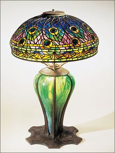 Peacock lamp, Tiffany Studios, 1900–1910. Leaded and blown glass, bronze.