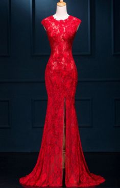 Long prom dress, mermaid prom dress, sexy red
