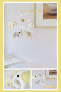 Elephants Mobile - Baby Crib Mobile - Nursery Mobile - Baby Shower Decor - Polka Dot Yellow White Elephants theme (You can pick your colors)