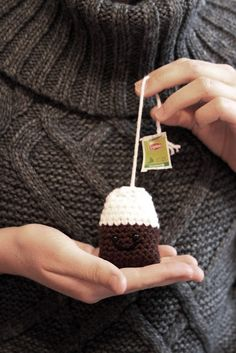 Free Crochet Pattern for a cute little Amigurumi Crochet Tea Bag...I love the little face on him, too sweet!