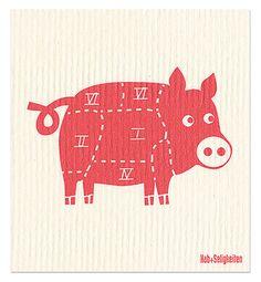 """Schwammtuch """"Schweinchen"""" (weiß/ rosa). Das bedruckte Schwammtuch ist ein Naturprodukt und einfach in der Waschmaschine zu reinigen. Es verfärbt nicht, hat eine lange Lebensdauer und ist kompostierbar. Produziert in Deutschland. 20 cm x 22 cm. 70% Viskose, 30% Baumwolle. - Erhältlich bei: http://shop.hokohoko.com"""