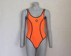 Één stuk zwembroek Vintage badkleding zwemmen past badpakken Neon oranje geel