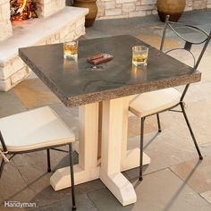 Build this attractive, durable stone look-alike table in a day, using inexpensive concrete products available at many home centers. You simply mold and pour the top, then assemble the wooden legs. When sealed, it's stain-resistant and can be used indoors or outside.